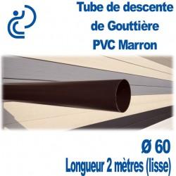 Tube Descente Gouttière PVC D60 Marron en longueur de 2ml (lisse)