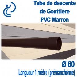 Tube Descente Gouttière PVC D60 Marron en longueur de 1ml (prémanchonné)