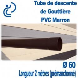 Tube Descente Gouttière PVC D60 Marron en longueur de 2ml (prémanchonné)