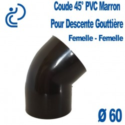 COUDE GOUTTIERE PVC MARRON 45° FF D60