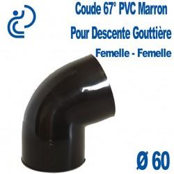 Coude gouttière PVC marron 67° FF D60