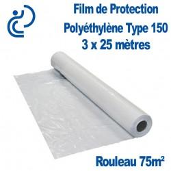 Film de Protection Polyéthylène Type 150 3x25m rouleau de 75m²