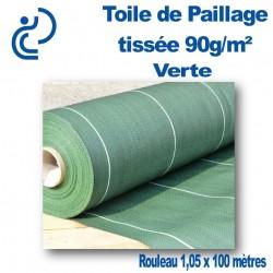 TOILE DE PAILLAGE TISSEE 90gr/M2 VERTE (rouleau de 1,05x100ml)