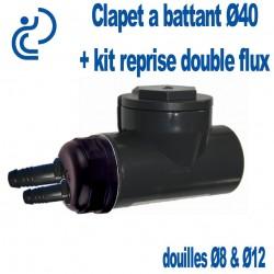 Kit Clapet A Battant PVC P avec raccordement double Flux