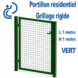 Portillon Standard Grillagé Vert 1mx1m serrure intégrée