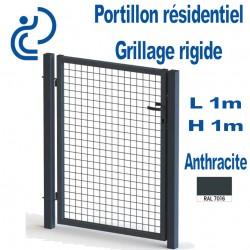 Portillon Standard Grillagé Anthacite 1mx1m serrure intégrée