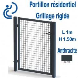 Portillon Standard Grillagé Anthracite 1mx1.50m serrure intégrée