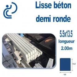 Lisse Béton Demi Ronde 5,5x13,5 longueur 2 mètres