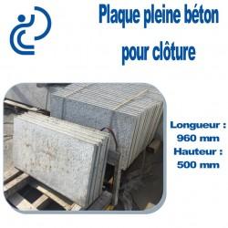 Plaque de Clôture Béton Pleine Longueur 960 mm x Hauteur 500 mm