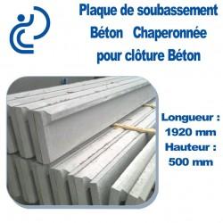 Plaque Sous Bassement Béton Chaperonnée 1.92x0.5m Pour Clôture Béton