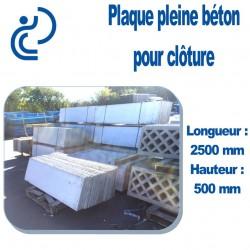 Plaque de Clôture Béton Pleine Longueur 2500 mm x Hauteur 500 mm