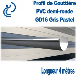 GOUTTIERE PVC DEMI RONDE GD16 Gris pastel longueur 4 mètres