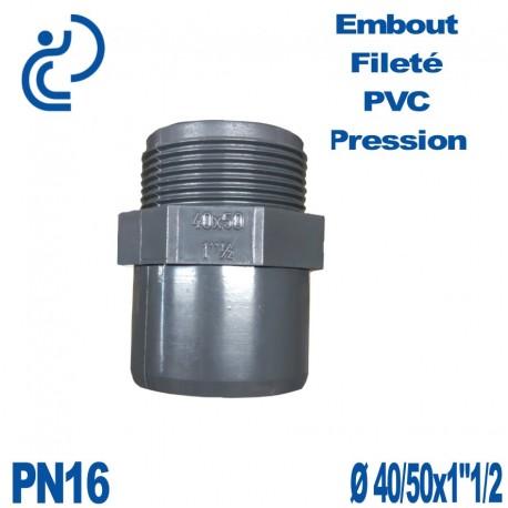 """Embout Fileté D40/50x1""""1/2 PVC Pression PN16"""
