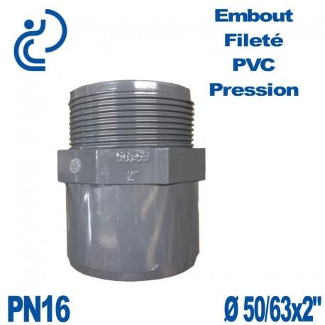 """Embout Fileté D50/63x2"""" PVC Pression PN16"""