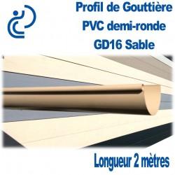 Gouttière PVC Demi ronde GD16 Sable en longueur de 2ml