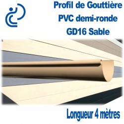 GOUTTIERE PVC DEMI RONDE GD16 SABLE en longueur de 4ml