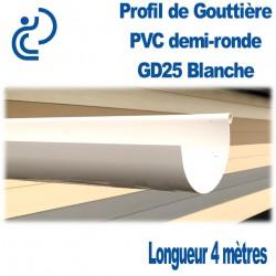 Gouttière PVC Demi ronde GD25 blanche en longueur de 4ml