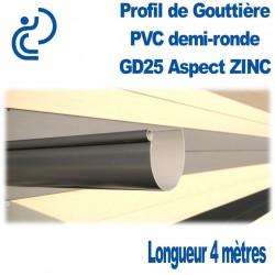 Gouttière PVC Demi ronde GD25 aspect ZINC en longueur de 4ml