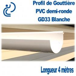Gouttière PVC Demi ronde GD33 Blanche en longueur de 4ml