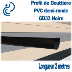GOUTTIERE PVC DEMI RONDE GD33 NOIRE en longueur de 2ml