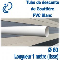 Tube Descente Gouttière PVC D60 Blanc en longueur de 1ml (lisse)