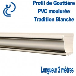 Gouttière PVC TRADITION ton blanc moulurée en longueur de 2ml