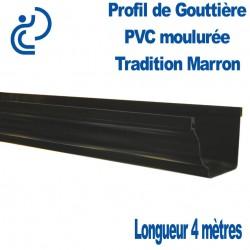 Gouttière PVC TRADITION ton marron moulurée en longueur de 4ml