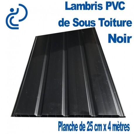 LAMBRIS PVC DE SOUS TOITURE NOIR planches de 25cmX4ml