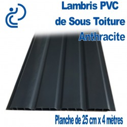 LAMBRIS PVC DE SOUS TOITURE ANTHRACITE planches de 25cmX4ml