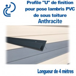 PROFILE DE FINITION U ANTHRACITE POUR LAMBRIS longueur de 4ml