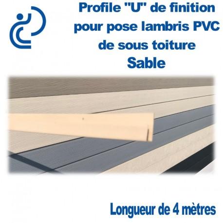 """PROFILE DE FINITION """"U"""" SABLE POUR LAMBRIS longueur de 4ml"""