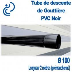 TUBE DESCENTE GOUTTIERE PVC D100 NOIR en longueur de 2ml prémanchonné