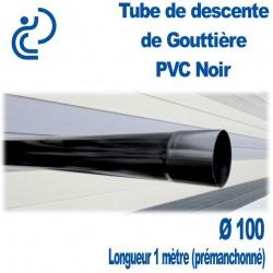 Tube descente gouttière PVC D100 Noir en longueur de 1ml prémanchonné