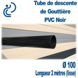 TUBE DESCENTE GOUTTIERE PVC D100 NOIR en longueur de 2ml lisse