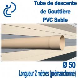 Tube descente de Gouttière D50 Sable longueur de 2ml prémanchonné