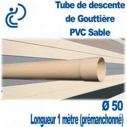 TUBE DESCENTE GOUTTIERE PVC D50 SABLE longueur de 1ml Prémanchonné