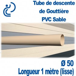 TUBE DESCENTE GOUTTIERE PVC D50 SABLE longueur de 1ml lisse
