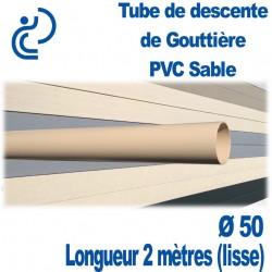 TUBE DESCENTE GOUTTIERE PVC D50 SABLE longueur de 2ml lisse
