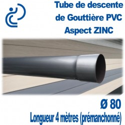 TUBE DESCENTE GOUTTIERE PVC ASPECT ZINC D80 longueur de 4ml