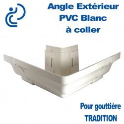 ANGLE EXTERIEUR A COLLER EN PVC BLANC POUR GOUTTIERE TRADITION