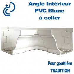 ANGLE INTERIEUR A COLLER EN PVC BLANC POUR GOUTTIERE TRADITION