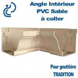 ANGLE INTERIEUR A COLLER EN PVC SABLE POUR GOUTTIERE TRADITION