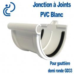 Jonction PVC blanc à joint pour gouttière GD33