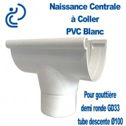 Naissance centrale à coller en PVC blanc pour GD33/D100