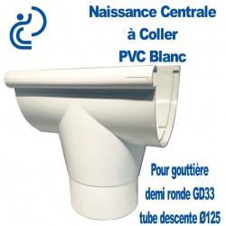 Naissance centrale à coller en PVC blanc pour GD33/D125