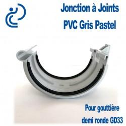 Jonction PVC gris pastel à joint pour gouttière GD33