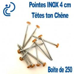 POINTES INOX 4CM TETE CHENE (boîte de 250)
