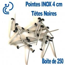 POINTES INOX 4CM TETE NOIRE (boîte de 250)