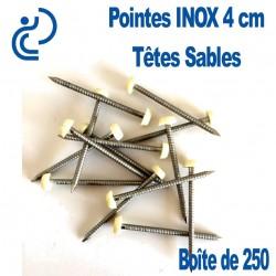 POINTES INOX 4CM TETE SABLE (boîte de 250)