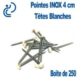 POINTES INOX 4CM TETE BLANCHE (boîte de 250)